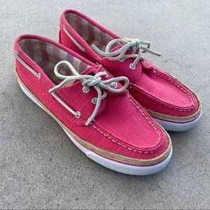 Sperry Pink White Summer Lace Boat Loafer Shoes